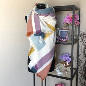 NWT Madewell Striped knit color block wrap scarf